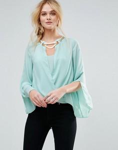 Блузка с золотистой вставкой TFNC - Синий