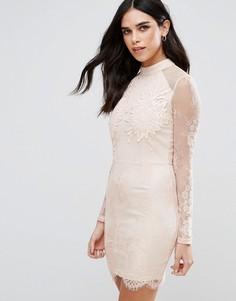 Кружевное облегающее платье Girl In Mind - Бежевый