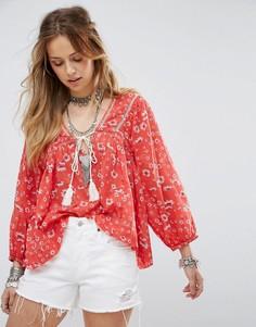 Блузка с принтом Free People Never a Dull Moment - Красный