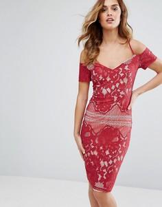 Кружевное платье миди с широким вырезом и бретельками Girl In Mind - Красный