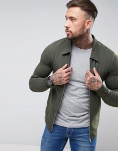 Обтягивающая трикотажная куртка Харрингтон цвета хаки ASOS - Зеленый