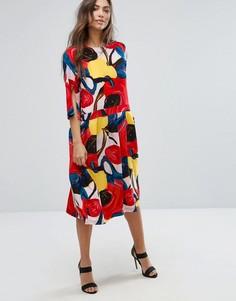 Платье с цветочным принтом и юбкой в складку Orion Connie - Мульти