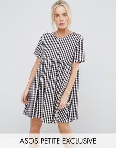 Свободное платье в клетку ASOS PETITE - Мульти
