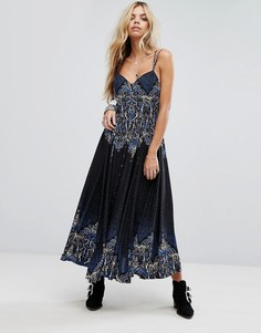 Платье макси с принтом Free People Be My Baby - Черный