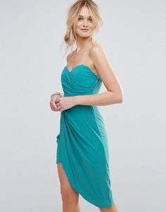 Платье бандо с присборенной драпировкой TFNC - Синий