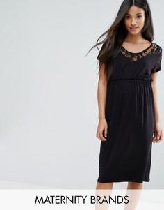 Платье с кружевной отделкой Mama.Licious - Черный