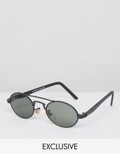 Круглые солнцезащитные очки с планкой над переносицей Reclaimed Vintage - Черный