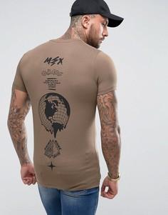 Длинная обтягивающая футболка с принтом на спине ASOS - Коричневый