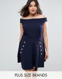 Короткое приталенное платье из крепа с открытыми плечами и пуговицами Club L - Темно-синий