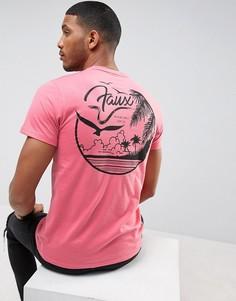 Футболка с принтом на спине Friend or Faux - Розовый