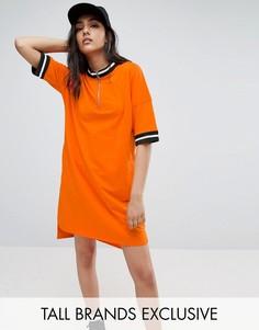 Свободное трикотажное платье на молнии Daisy Street Tall - Оранжевый