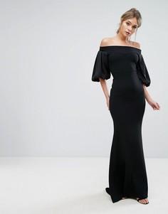 Платье макси с открытыми плечами и пышным рукавом на манжете TFNC - Черный