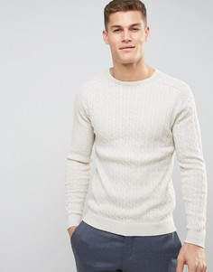 Хлопковый джемпер с круглым вырезом Selected Homme - Белый