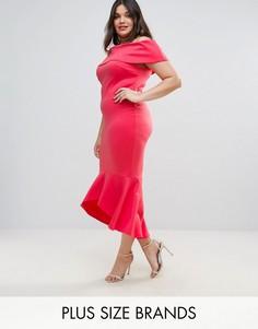 Платье с вырезом лодочкой и оборкой по краю Club L - Розовый