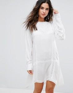 Удлиненное пляжное платье с вышивкой Anmol - Белый