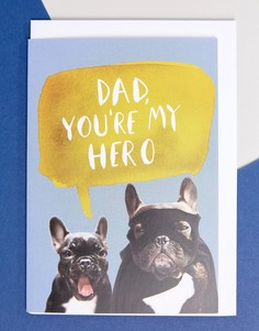 Поздравительная открытка ко Дню отца с надписью My Hero Jolly Awesome - Мульти