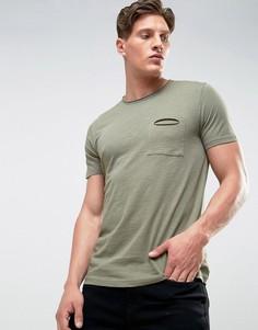 Меланжевая футболка с необработанными краями и карманом Another Influence - Зеленый
