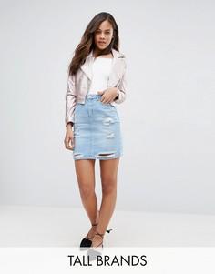 Джинсовая юбка с рваной отделкой New Look Tall - Синий