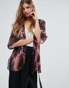 Кимоно с пальмами и разрезом Neon Rose - Розовый