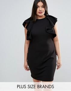 Платье с оборками и высоким воротом Club L Plus - Черный