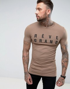 Длинная обтягивающая футболка с принтом Reve Grand ASOS - Коричневый