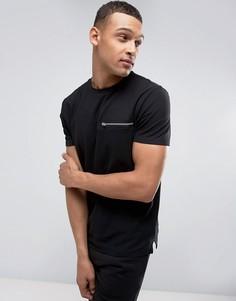 Черная футболка с карманом на молнии New Look - Черный