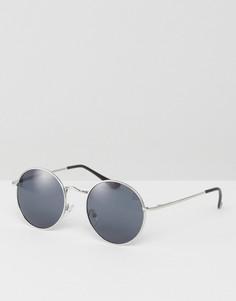 Круглые солнцезащитные очки в стиле 90-х в металлической оправе ASOS - Серебряный