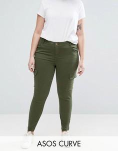 Джинсы цвета хаки с классической талией и карманами ASOS CURVE LISBON - Зеленый