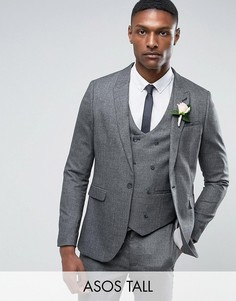 Фактурный серый узкий пиджак ASOS TALL WEDDING - Серый