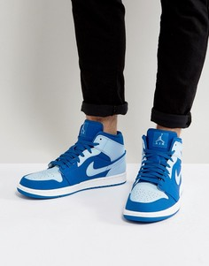 Синие кроссовки средней высоты Nike Air Jordan 1 554724-400 - Синий