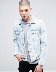 Классическая светлая джинсовая куртка в винтажном стиле Calvin Klein Jeans - Синий