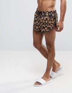 Короткие пляжные шорты с боковыми разрезами и принтом ASOS - Черный