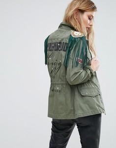 Куртка в стиле милитари с заклепками и бахромой Replay Hollywood - Зеленый