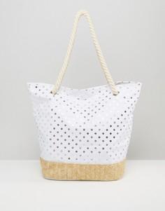 Пляжная сумка в блестящий горошек Chateau - Белый