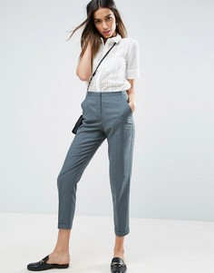 Льняные брюки-сигареты ASOS - Зеленый
