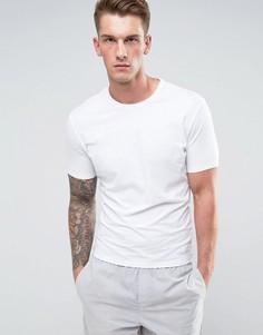 Футболка слим с короткими рукавами и круглым вырезом Calvin Klein - Белый