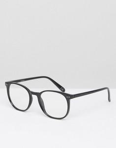 Черные круглые очки с прозрачными стеклами ASOS - Черный