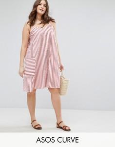 Свободное летнее платье из жатого хлопка в полоску ASOS CURVE - Мульти