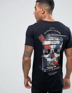 Удлиненная футболка с принтом на спине и на груди Religion - Черный