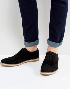 Черные замшевые туфли дерби с перфорацией ASOS - Черный
