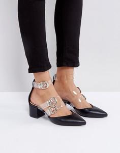 Остроносые туфли на среднем каблуке с прозрачными ремешками RAID Carmel - Черный