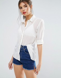 Блузка с кружевной отделкой ASOS - Кремовый