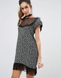 Чайное платье миди с оборками Boohoo - Мульти