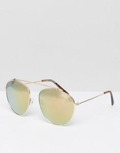 Солнцезащитные очки-авиаторы с зеркальными стеклами New Look - Коричневый