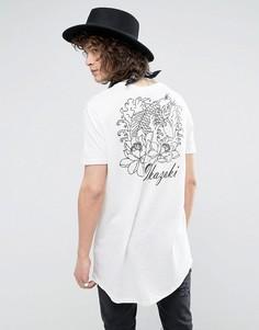Супердлинная фактурная футболка с принтом на спине ASOS - Белый