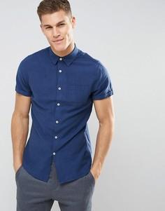 Льняная облегающая рубашка с короткими рукавами Burton Menswear - Темно-синий