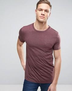 Красная футболка с круглым вырезом и карманом ASOS - Красный