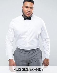 Узкая атласная рубашка с воротником-стойкой и двойными манжетами ASOS PLUS WEDDING - Белый