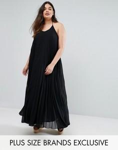 Плиссированное платье макси Missguided Plus - Черный