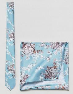 Голубой узкий галстук и платок для нагрудного кармана с цветочным принтом ASOS - Синий